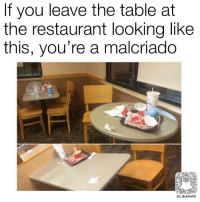 Restaurant: f you leave the table at  the restaurant looking like  this, you're a malcriado  SC: BLSNAPZ