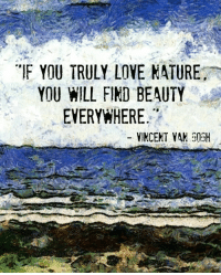 """love nature: """"F YOU TRULY LOVE NATURE  YOU HILL FIND BEAUTY  EVERYWHERE  -VINCENT VAH 503H"""