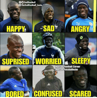Football, Memes, and Power: f9TrollFootball  OTheTrollFootball Insta  KING  POWER  SUPRISED WORRIED SLEEPY  Marcos Football Corner  Marcos Fussballecke  BOREDCONFUSED SCARED N'Golo Kanté 💙 ⠀⠀⠀⠀⠀⠀⠀⠀⠀⠀⠀ (📸 @marcos_fussballecke)