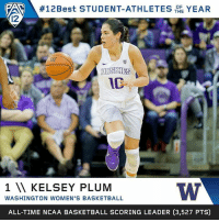 Basketball, Memes, and Best: FAA 12 Best STUDENT-ATHLETES  THE  YEAR  OF  HUSKIES  1 W KELSEY PLUM  WASHINGTON WOMEN'S BASKETBALL  ALL-TIME NCAA BASKETBALL SCORING LEADER (3,527 PTS) The one. The only. The 🐐. @kelseyplum10 is No. 1 on our list of 12Best Student-Athletes of 2016-17! BowDown