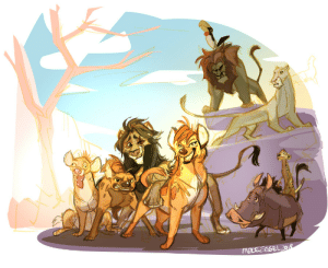 Animals, Bitch, and Tumblr: fablepaint:    Scar is forced out of his pride and joins the hyenas, where he finds out Shenzi and her clan are not the scourge of the pridelands but in fact the reason why the lions are so well fed. He assists Shenzi in a revolution to lift animals out of lion subservience.Simba is basically a brutish Joffrey, Scar is Tyrian. Scar learns that a picked-on lion like himself has more in common with the hard-working and trodden upon hyenas than his fellow lions. Nala is sent to assassinate him and instead helps him out.Shenzi is a tough but congenial kind of person. Banzai (now female) is a snappy bitch, with sharp teeth and crass humor. Ed is still Ed. Timon and Pumbaa are looking for a way out of indentured servitude to SimbaIf you do one of these where the story and designs are switched between protag and antag, please tag it #ReverseDisney so I can see too thanks!