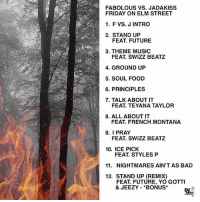 Bad, Fabolous, and Food: FABOLOUS VS. JADAKISS  FRIDAY ON ELM STREET  1. F VS. J INTRO  2. STAND UP  FEAT. FUTURE  3. THEME MUSIC  FEAT. SWIZZ BEATZ  4. GROUND UP  5. SOUL FOOD  6. PRINCIPLES  7. TALK ABOUT IT  FEAT. TEYANA TAYLOR  8. ALL ABOUTIT  FEAT. FRENCH MONTANA  9. I PRAY  FEAT. SWIZZ BEATZ  10. ICE PICK  FEAT. STYLES P  11. NIGHTMARES AIN'T AS BAD  12. STAND UP (REMIX)  FEAT. FUTURE, YO GOTTI  & JEEZY *BONUS Jadakiss and Fabolous release the tracklist to 'Friday On Elm Street' dropping November 24th! 👀🔥💯 @TheRealKiss @MyFabolousLife WSHH