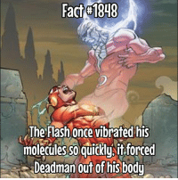 Impressive skill to have. I guess 😂: Fac 1848  The Flash once vibrated his  moleculesso quickysft forred  moleciles so quickyit forced  Deadman out of hisbody Impressive skill to have. I guess 😂