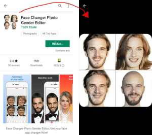 """Selfie, Apps, and Magic: Face Changer Photo  Gender Editor  TDEV TEAM  #8 Top Apps  Photography  INSTALL  Contains ads  1M+  2.4  Downloads  7K reviews  PEGI 3  Mee  futur  Add magic  to your selfie  Make them smile  Face Changer Photo Gender Editor, Get your face  app changer Now! I found Pewds as the icon on this badly rated """"not FaceApp"""" app."""