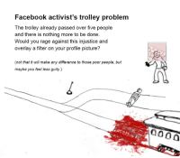Facebook activist's trolley problem  The trolley already passed over five people  and there is nothing more to be done  Would you rage against this injustice and  overlay a filter on your profile picture?  (not that it will make any difference to those poor people, but  maybe you feel less guity.) Oh god, Jezus Christ, good lord in the sky - this meme! @Lui Zuccherelli de Paula