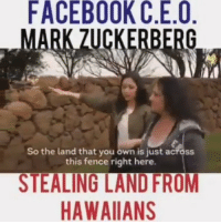 "Facebook, Memes, and Power: FACEBOOK C.E.O  ZUCKERBERG  So the land that you own is just across  this fence right here.  STEALING LANDFROM  HAWAIIAN ""Nearly all men can stand adversity, but if you want to test a man's character, give him power."" 4biddenknowledge rp @v_a_123"