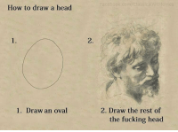 So genius: Facebook.com/ClassicalArtMemes  How to draw a head  1.  2.  2. Draw the rest of  the fucking head  1. Draw an oval So genius