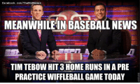 Well, at least he isn't overrated in baseball! (Justin Sorice): facebook.com/TheMLBMemes  MEANWHILE IN BASEBALL NEWS  TIM TEBow HIT 3HOME RUNS IN A PRE  PRACTICE WIFFLEBALLGAME TODAY Well, at least he isn't overrated in baseball! (Justin Sorice)