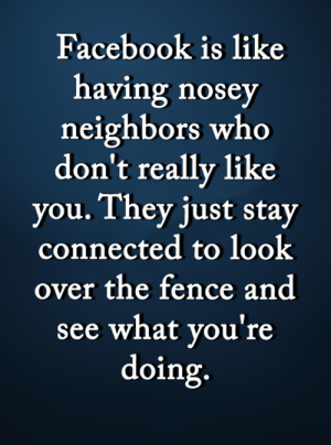<3: Facebook is like  having nosey  neighbors who  don't really like  you. They just stay  connected to look  over the fence and  see what you're  doing. <3