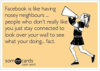 #SpitFire: Facebook is like having  nosey neighbours  people who don't really like  you just stay connected to  look over your wall to see  what your doing... fact  ee  cards  user card #SpitFire