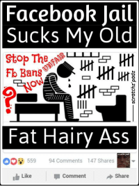 Facebook Jail: Facebook Jail  Sucks My Old  Stop  Ban8  Fat Hairy Ass  94 Comments 147 Shares  559  Like  Share  Comment Facebook Jail