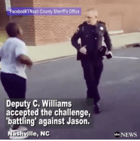 Young boy in Nashville, NorthCarolina, decided to challenge his local law enforcement officers in a RunningMan dance-off. Deputy Williams accepted the challenge. 👏🇺🇸 @abcnews WSHH: Facebook Nash County Sheriffs Office  Deputy C. Williams  accepted the challenge,  'battling' against Jason.  ashville, NC  obo NEWS Young boy in Nashville, NorthCarolina, decided to challenge his local law enforcement officers in a RunningMan dance-off. Deputy Williams accepted the challenge. 👏🇺🇸 @abcnews WSHH