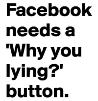 Why You Lying: Facebook  needs a  Why you  lying?'  button.