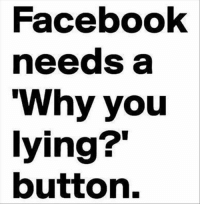 "Why You Lying: Facebook  needs a  ""Why you  lying?""  button."