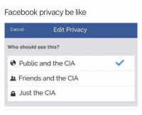 😂😂😂😂: Facebook privacy be like  Cancel  Edit Privacy  Who should see this?  Public and the CIA  Friends and the CIA  a Just the CIA 😂😂😂😂
