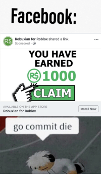 Facebook R Robuxian For Roblox Shared A Link Sponsored You Have