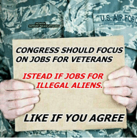 Absolutely!: facebook  SUPPORT POLICE OFFICERS  CONGRESS SHOULD FOCUS  ON JOBS FOR VETERANS  ISTEAD IF JOBS FOR  ILLEGAL ALIENS.  LIKE IF YOU  AGREE Absolutely!