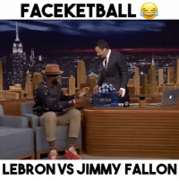 "Faceketball with LeBron on the Jimmy Fallon Show!😂 - Comment ""😂"" 5 times without getting interrupted! - Follow @wildtapes for more!: FACEKETBALL  LEBRON VS JIMMY FALLON Faceketball with LeBron on the Jimmy Fallon Show!😂 - Comment ""😂"" 5 times without getting interrupted! - Follow @wildtapes for more!"