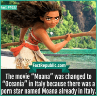 """moana: Fact #1037  FactRepublic.com  The movie """"Moana"""" was changed to  """"Oceania"""" in Italy because there was a  porn star named Moana already in Italy."""
