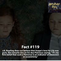 """Dumbledore, Gryffindor, and Memes: Fact #119  J.K. Rowling does not believe that Snape's love for Lily was  ure. She remarks this on his doe Patronus saying, """"It's my  rm belief that such a Patronus is an indicator of obsession  or eccentricity."""" What are your thoughts on Snape? - harrypotter harrypotterworld harrypotterfandom harrypotterforever harrypotterandthecursedchild jkrowling dumbledore quidditch snape severussnape hogwarts gryffindor slytherin hufflepuff ravenclaw hagrid dobby ronweasley emmawatson danielradcliffe voldemort tomfelton dracomalfoy siriusblack robinwilliams hagrid"""