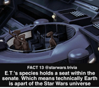 ▪️Would you want a seat in senate or on the council?▪️: FACT 13 @starwars.trivia  E.T.'s species holds a seat within the  senate. Which means technically Earth  is apart of the Star Wars universe ▪️Would you want a seat in senate or on the council?▪️