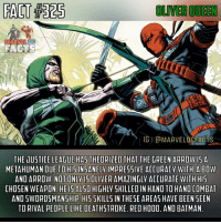 Batman, Memes, and Arrow: FACT 1325  OLMEROUEEN  IGKCMARVELDGEACTS  THE JUSTICE LEAGUE HASTHEORIZED THAT THE GREEN ARROW  15 A  AN DUE TO HI5 INSANELY IMPRESSIVE  ACOURACV WITH A BOW  AND ARROW. NOT ONLY ISOLIVERAMAZINGLY ACCURATE WITH HIS  CHOSEN WEAPON. HE IS AL50 HIGHLY SKILLED IN HAND TO HAND COMBAT  AND 5WORD5MANSHIP, H15 5KILL5 IN THESE AREAS HAVE BEEN SEEN  TO RIVAL PEOPLE LIKE DEA  RED HOOD. AND BATMAN Please note that it says THEORIZED. It is in no way confirming that Oliver is a metahuman. Since Oliver can hit targets while upside down and in the air after 2 somersaults, the League gets curious. There are also many more amazing shots he has made but there are honestly too many to list. For those that are wondering, yes he is a master swordsman.👌🏼🔰 - QOTD: Who is your favorite Justice League member? Comment below!💥⬇ - AOTD: I think you guys already know. It's The Flash. He always will be, he'll always be my favorite hero, and he's been that way since 2014.⚡️ - greenarrow oliverqueen theemeraldarcher arrow deathstroke cw dc dccomics dcuniverse dcextendeduniverse dcentertainment marveldcfacts_