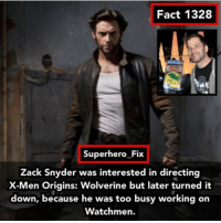 Batman, Memes, and Superhero: Fact 1328  Superhero Fix  Zack Snyder was interested in directing  X-Men Origins: Wolverine but later turned it  down, because he was too busy working on  Watchmen. Wolverine V. Deadpool: Dawn of X-Men - zacksnyder wolverine xmen batman superman batmanvsuperman dc
