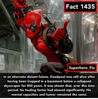 Source: Marvel Wiki - deadpool spiderman ironman marvel avengers: Fact 1435  Superhero Fix  In an alternate distant future, Deadpool was still alive after  having been trapped in a basement below a collapsed  skyscraper for 800 years. It was shown that, over this time  period, his healing factor had slowed significantly. His  mental capacities and humor remained the same. Source: Marvel Wiki - deadpool spiderman ironman marvel avengers