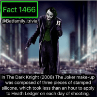 Joker, Memes, and Excel: Fact 1466  Batfamily trivia  In The Dark Knight (2008) The Joker make-up  was composed of three pieces of stamped  silicone, which took less than an hour to apply  to Heath Ledger on each day of shooting Well I never said what the best comic book film of 2016 was. Well it's.... Doctor Strange. And let me explain why. It's simple. It's a film. And A film that can be Rewatched without skipping to the action scenes. A YouTube, uh Bobby something made an excellent point. Marvel films recently after phase 2 are made to be seen with a bunch of people to laugh... and never watched again. - - And irks not just a blow to Marvel. DC and BVS which I love; I love BVS. I can't sit there and watch a 3 hour movie. Doctor Strange, if it didn't have the cheesy stupid Marvel one-liners, is a solid movie. Not just a marvel movie. - - So that's one big reason why I like Doctor Strange the best for 2016. And let the flame wars begin 🔥😒 batman75 dccomics joker joker75