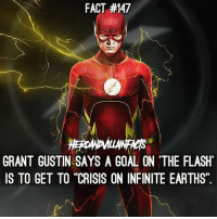 """Memes, Goal, and The Flash: FACT #147  GRANT GUSTIN SAYS A GOAL ON 'THE FLASH  IS TO GET TO """"CRISIS ON INFINITE EARTHS"""". This would be epic! ⚡️ --- Artwork by @bosslogic"""