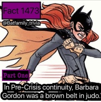 Jordans, Low Key, and Memes: Fact 1473  @Batfamily trivia  Part One  In Pre-Crisis continuity, Barbara  Gordon was a brown belt in judo. Low-key still want Steven Yeun and Emma Stone to be Nightwing and Batgirl in Ben Affleck's The Batman. Watch the hate come 😞 OR Michael B. Jordan as Nightwing. batman75 dccomics Batgirl Nightwing Robin75 robin