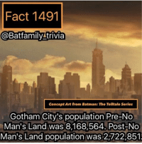 Memes, Gotham, and 🤖: Fact 1491  Batfamily trivia  Concept Art from Batman: The Telltale series  Gotham City's population Pre-No  Man's Land was 8,168,564. Post-No  Man's Land population was 2,722,851 Anyone get their injustice 2 beta codes yet. Still waiting on mine. 😓. How does it feel? batman75 dccomics