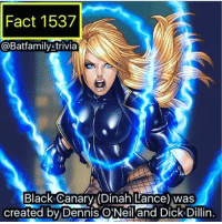 Facts, Memes, and Spider: Fact 1537  @Batfamily Atrivia  Black Canary (Dinah Lance) Was  created by Dennis C Neil and Dick Dillin Hey guys yeah I know. Where the Fudge have I been? Well I needed another break- I'm trying to finish up getting these video facts and starting the paid shoutouts and stuff (I'm setting my prices super low so don't worry. 😉). More information as time goes on but I'm posting my reviews for the new Justice League and Spider-Man trailers and last Tuesday's Flash. And other stuff. Keep it tune here I'm back! BlackCanary robin75 batman75 dccomics