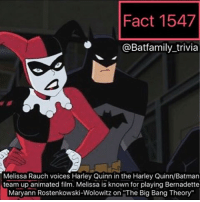 "Batman, Memes, and Twitter: Fact 1547  @Batfamily trivia  Melissa Rauch voices Harley Quinn in the Harley Quinn/Batman  team up animated film. Melissa is known for playing Bernadette  Maryann Rostenkowski Wolowitz on ""The Big Bang Theory"" Comment your opinion below: I'm very interested in this movie. This seems like it's going to be a fun interpretation of the DCAU. And if you all have seen the screenshots, oh boy 😆 check my Twitter. robin75 batman75 warnerbros batgirl dccomics harleyquinn harleenquinzel nightwing robin dcau brucetimm pauldini"