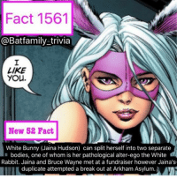 Batman, Bodies , and Easter: Fact 1561  @Batfamily trivia  LIKE  You.  New 52 Fact  White Bunny (Jaina Hudson) can split herself into two separate  bodies, one of whom is her pathological alter-ego the White  Rabbit. Jaina and Bruce Wayne met at a fundraiser however Jaina's  duplicate attempted a break out at Arkham Asylum. i Happy Easter everyone! Hope you all are having an awesome holiday, spending it with friends and family. 🐰🐰🐰 batman nightwing batgirl
