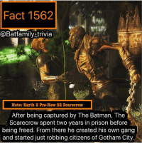 Batman, Crime, and Family: Fact 1562  a Bat family trivia  Note: Earth 2 Pre-New 52 Scarecrow  Ater being captured by The Batman The  Scarecrow spent two years in prison before  being freed. From there he created his own gang  and started just robbing citizens of Gotham City. Howdy y'all how's everyone doing? Yesterday was that whole scare in Cleveland, some of you know I have family in Cleveland and some are close to the crime scene. Don't worry they are safe. Anyway 17 more or so days till Guardians of The Galaxy Vol. 2! And that new Telltale's game is coming out I believe tomorrow digitally so the hype train is real. 🚂 choo -choo! Anyway I'm out, back to the Overwatch grind for these loot boxes nightwing batman robin75 batgirl scarecrow gotgvol2 dccomics dcau