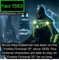 """Batman, Memes, and Work: Fact 1563  @Batfamily trivia  Bruce Wayne/Batman has been on the  """"Forbes Fictional 15"""" since 1939. Few  fictional characters are able to stay on  """"Forbes Fictional 15"""" for so long So DC finally released a trailer for Krypton, after being announced so long ago. I remember when it was first announced and I was unsure if it would work for the DCEU, because I remember them saying """"it's part of the DCEU."""" This was before BVS. But it looks cool, I might watch at least one episode. Cloak and Dagger looks cool to me too. marvel dccomics batman75 forbesfictioanl15 batman robin75 batgirl dc krypton dcau dccomics Dceu"""