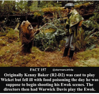 Food, Jedi, and Memes: FACT 157  a starwars trivia  Originally Kenny Baker (R2-D2) was cast to play  Wicket but fell ill with food poisoning the day he was  suppose to begin shooting his Ewok scenes. The  directors then had Warwick Davis play the Ewok. 🔹Chewbacca or Wicket?🔹 - starwars stormtrooper firstorderstormtrooper superbowl swtfa jedi sith more movie me cool instagood dc marvel follow like awesome nerd geek nerdness force jedi sith