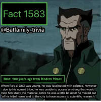 Got injustice2 last night. Free Poster and a hard case for the game. Pretty cool. I've played only chapter one so far and some AI matches. Looks like I'm going to have some fun with this game 😈 RaAlGhul Batman75 Batman dcau: Fact 1583  @Batfamily trivia  Note: 700 years ago from Modern Times  When Ra's al Ghul was young, he was fascinated with science. However  due to his nomad tribe, he was unable to access anything that would  help him study the material. Once he was a little bit older he moved out  of his tribal home and to the city to have access to scientific research. Got injustice2 last night. Free Poster and a hard case for the game. Pretty cool. I've played only chapter one so far and some AI matches. Looks like I'm going to have some fun with this game 😈 RaAlGhul Batman75 Batman dcau