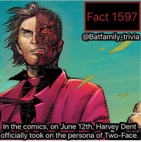 Batman, Crazy, and Harvey Dent: Fact 1597  @Batfamily trivia  In the comics, on June 12th, Harvey Dent  officially took on the persona of Two-Face QOTD: What is everyone's opinion on MCU movie posters. Like the new ones today for Spider-Man Homecoming just, look, generic and almost just pasted on. What's ya'll thoughts below? - - Also, Still crazy about Adam West. Hard to function on this account, but we are going to chug along. batman dccomics dc dcau twoface Arkham HarveyDent Dent Harvey - - Fact Credit: @arg11271997