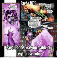Memes, Seal, and 🤖: Fact#1618  TALK FAST  WHAT ARE  LETS SEE IF  YOU DOING ON  THERE'S ANYTHING  RTH?  BEHIND THE  CHAINS AND THE  ATTITUDE.  I'M NOT  TALKING TO  YOU MUTT.  YOU SEALED LOBO  IN YOUR HALLUCINATION-  INDUCING CRYSTAL?  I THOUGHT IT MIGHT  SEDATE HIM YOUVE  BEEN ENCASED IN THE  SAPPHIRE CRYSTAL  BEFORE. IT SHONS YOU  YOUR GREATEST LOVE,  WHICH IN yoUR CASE YES.  MIRROR  I'D GUESS WAS A  MIRROR.  HOW  HUMOROUS.  Carol Ferris was once able to  Crystallise lobo  I AM NOT HERE FOR WAR That's impressive!