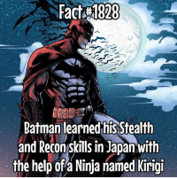 He is pretty Stealthy... one second he is right in front of you and the next... he throws a smoke bomb and hides in a nearby Dumpster.... woah! Fact via the awesome @batfamily_trivia: Fact 1828  Batman learned his Stealth  and Reconskills in Japan with  the help of a Ninja named Kirigi He is pretty Stealthy... one second he is right in front of you and the next... he throws a smoke bomb and hides in a nearby Dumpster.... woah! Fact via the awesome @batfamily_trivia