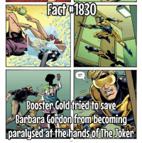 Joker, Memes, and The Joker: Fact#1830  Booster Gold 'tried to save  Bartbara Gordon fromtbecomino  paralused at the handsof The Jöker Well... they obviously worked out well... 🤣