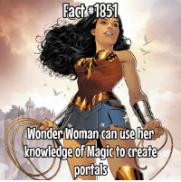 Memes, Wow, and Wonder Woman: fact#185  Wonder Woman can use her  knowledge of Maqic to create  portals Wow, I forgot the word 'to' before I fixed it! CRUCIFY ME!