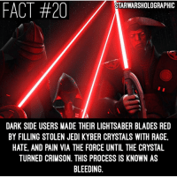 Here are some cool facts about Kyber Crystals! Credit to @starwarsholographic! starwars inquisitors ahsokatano sith jedi kybercrystal starwarsrebels: FACT #20  STARWARSHOLOGRAPHIC  DARK SIDE USERS MADE THEIR LIGHTSABER BLADES RED  BY FILLING STOLEN JEDI KYBER CRYSTALS WITH RAGE.  HATE, AND PAIN VIA THE FORCE UNTIL THE CRYSTAL  TURNED CRIMSON, THIS PROCESS IS KNOWN AS  BLEEDING Here are some cool facts about Kyber Crystals! Credit to @starwarsholographic! starwars inquisitors ahsokatano sith jedi kybercrystal starwarsrebels