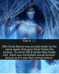 Memes, Daredevil, and Instinctive: Fact 203  Silk (Cindy Moon) was actually bitten by the  same spider that gave Peter Parker his  powers. So when Silk & Spider-Man finally  met there was immediate sexual tension  almost as if it was their primal instinct This is one of the best Marvel character designs I've ever seen 🕸💘🕸 - - - Marvel Comics Silk Spiderman Avengers IronMan CaptainAmerica Hulk Thor DoctorStrange CaptainMarvel Deadpool XMen Vision ScarletWitch BlackPanther BlackWidow BuckyBarnes Falcon Comicbook GuardiansOfTheGalaxy Groot Daredevil MarvelCinematicUniverse MarvelComics