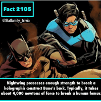 Edit: Sorry for the weird wording. I couldn't find any other info about how many Newtons it took to break a bone. Should've used a different word that typically. - - - So... ever broken a bone? And if so how? I haven't *knocks on wood* Batman DCComics WB Nightwing Batman80 dickgrayson BruceWayne Bane: Fact 2105  @Batfamily trivia  Nightwing possesses enough strength to break a  holographic construct Bane's back. Typically, it takes  about 4,000 newtons of force to break a human femur. Edit: Sorry for the weird wording. I couldn't find any other info about how many Newtons it took to break a bone. Should've used a different word that typically. - - - So... ever broken a bone? And if so how? I haven't *knocks on wood* Batman DCComics WB Nightwing Batman80 dickgrayson BruceWayne Bane