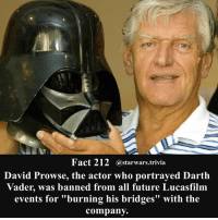 """Darth Vader, Future, and Jedi: Fact 212  Star Wars trivia  David Prowse, the actor who portrayed Darth  Vader, was banned from all future Lucasfilm  events for """"burning his bridges"""" with the  company. 🔹Who is your favorite Star Wars actor?🔹 - starwars stormtrooper firstorderstormtrooper superbowl swtfa jedi sith more movie me cool instagood dc marvel follow like awesome nerd geek nerdness force jedi sith"""