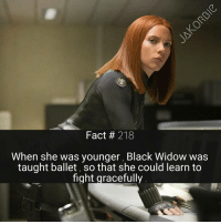 Memes, SpiderMan, and Deadpool: Fact 218  When she was younger Black Widow was  taught ballet, so that she could learn to  fight gracefully What would you guys prefer more facts on - Marvel or DC ?💥 《 Turn on Post Notifications 》 - - - Marvel Comics BlackWidow Avengers Groot Starlord Thanos GuardiansOfTheGalaxy ScarletWitch Hulk Thor IronMan CaptainAmerica Spiderman BlackPanther BlackWidow DoctorStrange CaptainMarvel Deadpool XMen Daredevil Quicksilver MarvelCinematicUniverse MarvelComics
