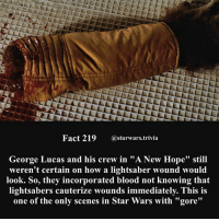 "Bloods, Jedi, and Lightsaber: Fact 219 @starwars.trivia  George Lucas and his crew in ""A New Hope"" still  weren't certain on how a lightsaber wound would  look. So, they incorporated blood not knowing that  lightsabers cauterize wounds immediately. This is  one of the only scenes in Star Wars with ""gore"" 🔹Lightsaber or blaster?🔹 - starwars stormtrooper firstorderstormtrooper superbowl swtfa jedi sith more movie me cool instagood dc marvel follow like awesome nerd geek nerdness force jedi sith"